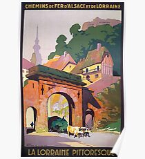 Lorraine, France, French village, scenery, vacation, tourist travel, vintage poster Poster