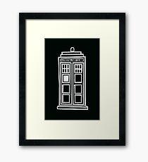 Black and white TARDIS Framed Print