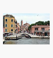 6 June 2017 Busy Bridge on Canal Grande  in Venice, Italy Photographic Print