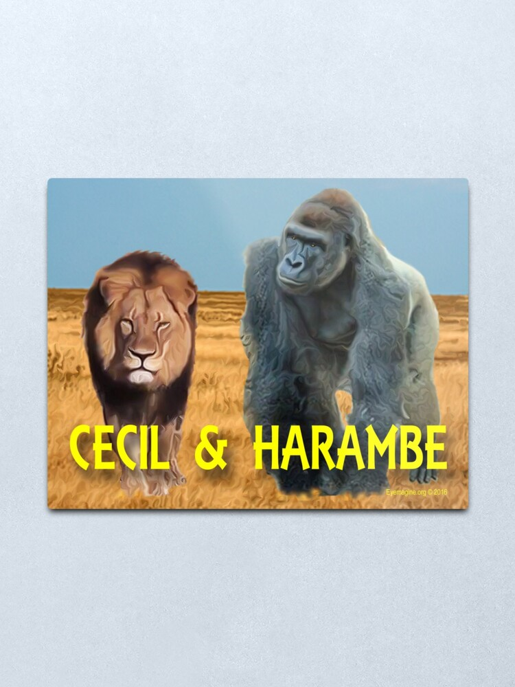 Alternate view of Harambe and Cecil Together Metal Print