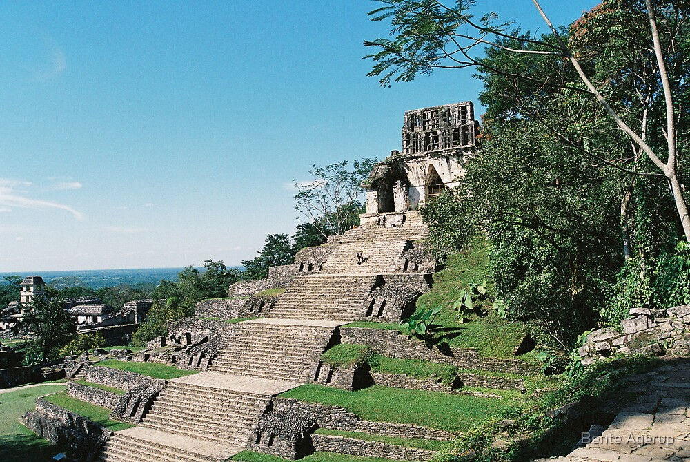 Pyramid in Palenque by Bente Agerup