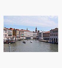 6 June 2017 Canal grande near the Rialto bridge in Venice, Italy Photographic Print