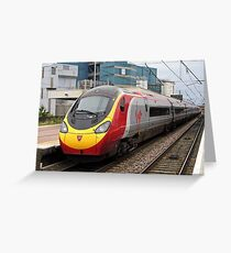 Virgin Trains Pendolino at Warrington Bank Quay Greeting Card