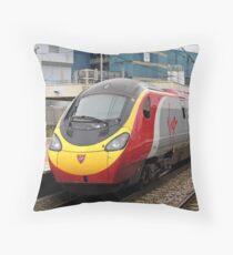 Virgin Trains Pendolino at Warrington Bank Quay Throw Pillow