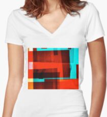 Red Layer Women's Fitted V-Neck T-Shirt