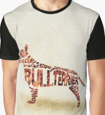 English Bull Terrier Typographic Watercolor Painting Graphic T-Shirt