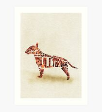 English Bull Terrier Typographic Watercolor Painting Art Print