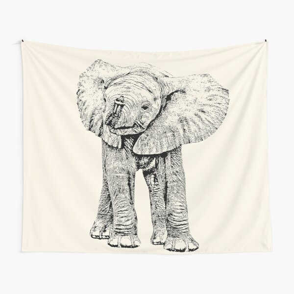 Cute Baby Elephant   African Wildlife Tapestry