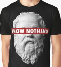KNOW NOTHING SOCRATES humor funny slogan philosophy censored Graphic T-Shirt