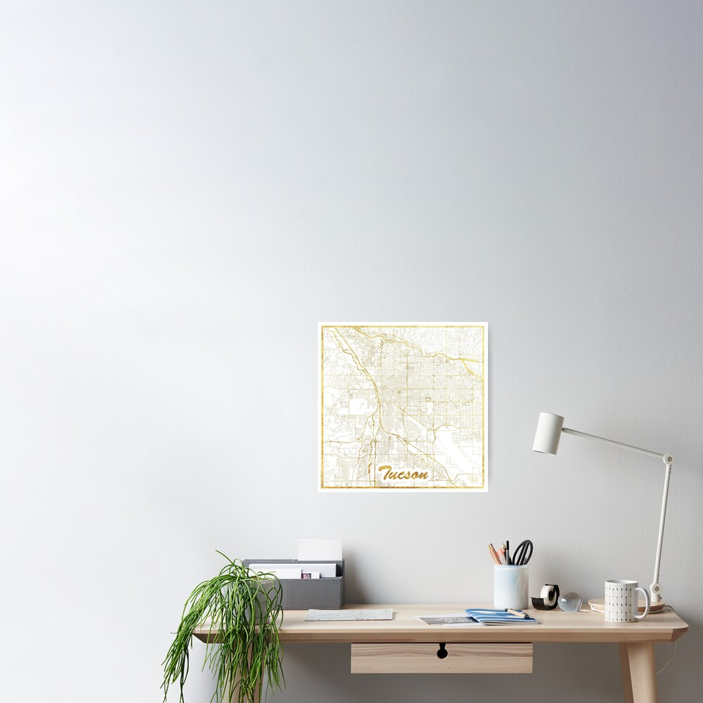 Tucson Map Gold Poster