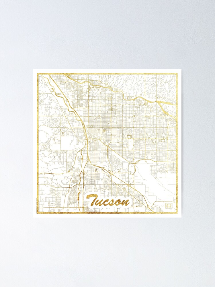Alternate view of Tucson Map Gold Poster
