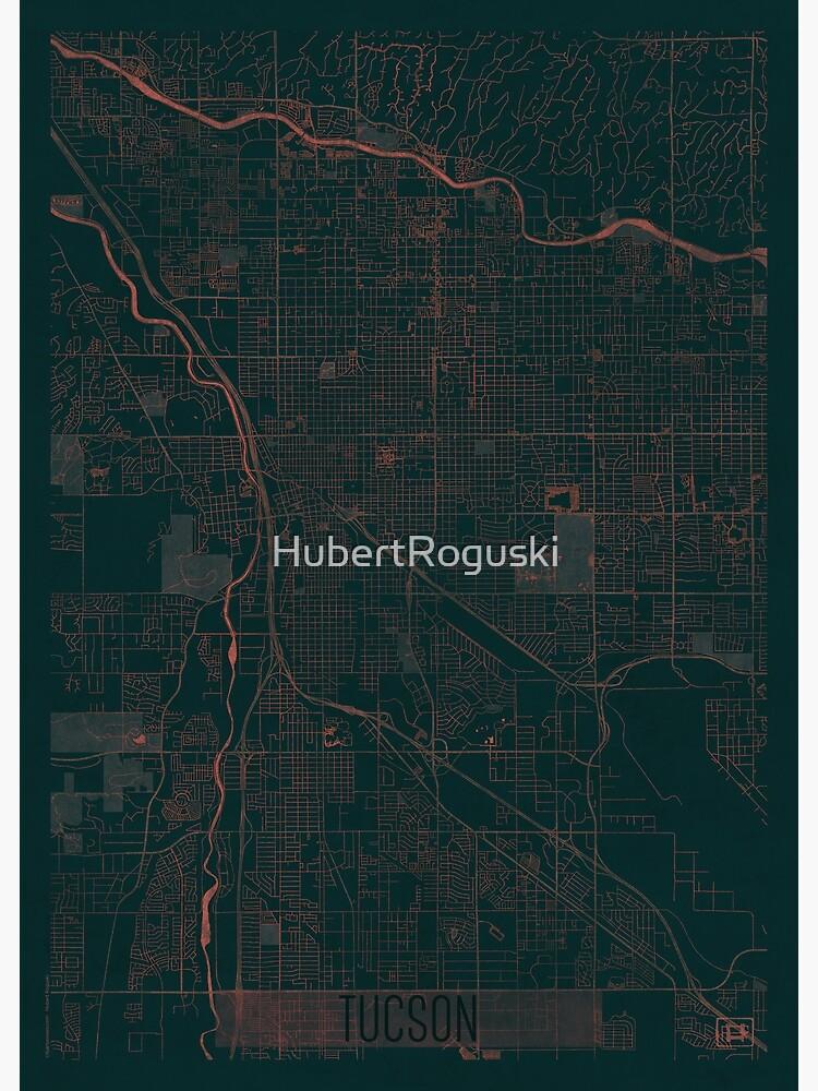 Tucson Map Red by HubertRoguski