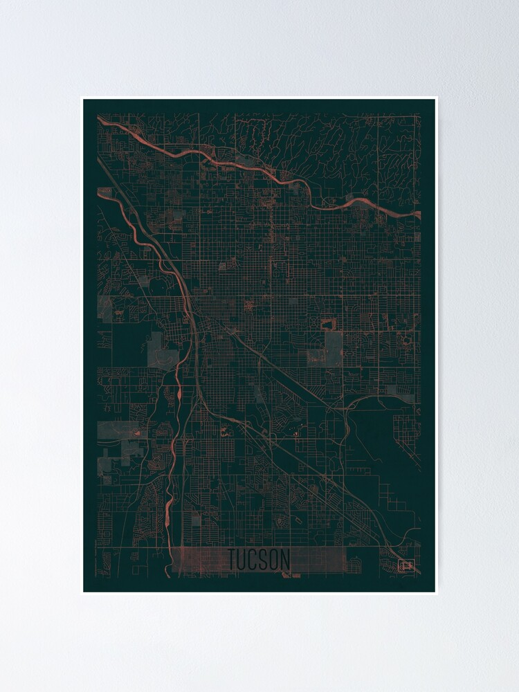 Alternate view of Tucson Map Red Poster