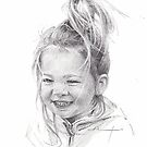 granddaughter long hair drawing by Mike Theuer