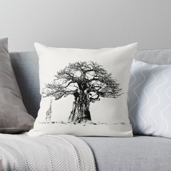 Baobab Tree and Giraffe | African Wildlife Throw Pillow