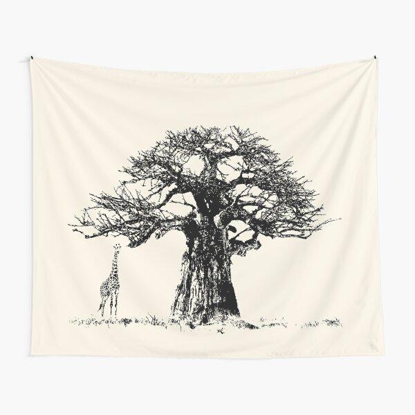 Baobab Tree and Giraffe   African Wildlife Tapestry