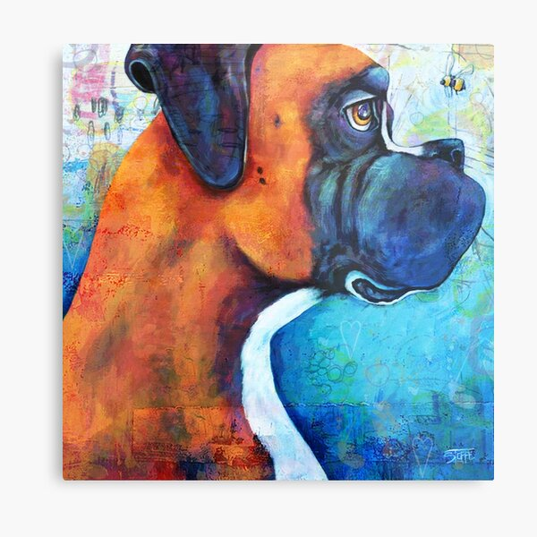 Boxer and the Bee Metal Print
