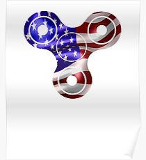 patriotic spinner usa flag Poster