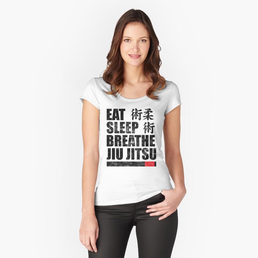 Essen Sie Schlaf Atmen Jiu Jitsu Tailliertes Rundhals-Shirt