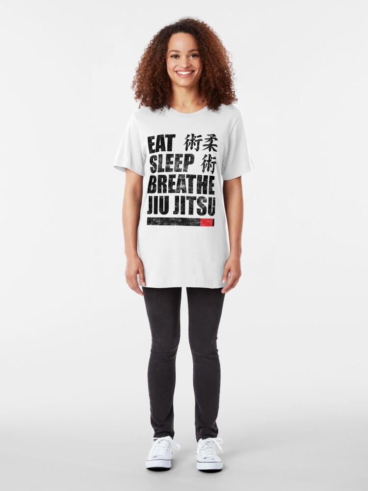Alternative Ansicht von Essen Sie Schlaf Atmen Jiu Jitsu Slim Fit T-Shirt