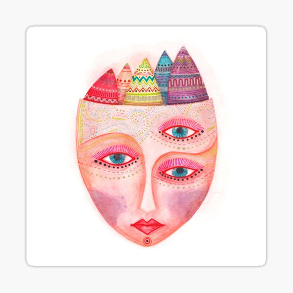 girl with the most beautiful eyes mask Sticker