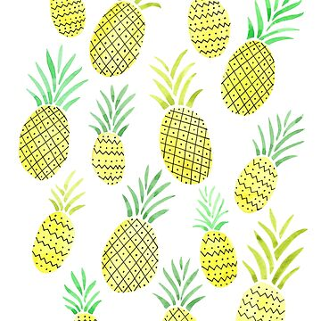 Watercolor Pineapple Pattern by latheandquill