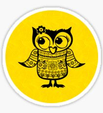 Shy owl with a flower Sticker