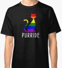 Gay Pride Cat Shirts and Gifts - Funny LGBT Rainbow Cat Purride Classic T-Shirt
