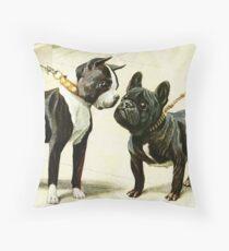 Boston Terrier & French Bulldog  Throw Pillow