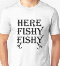 Hier Fishy Fishy - Angeln Design Unisex T-Shirt