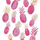 Watercolor Pineapples in Pink by latheandquill