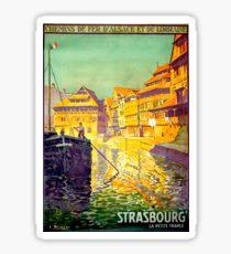 Strasbourg, city river cruise, ship, France, vintage travel poster Sticker