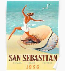 San Sebastian, Spain, send beach, girl, big shell, vintage travel poster Poster