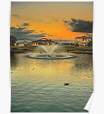 The suburban fountain at sunset Poster