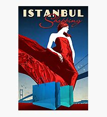Istanbul shopping, girl, vintage travel poster Photographic Print