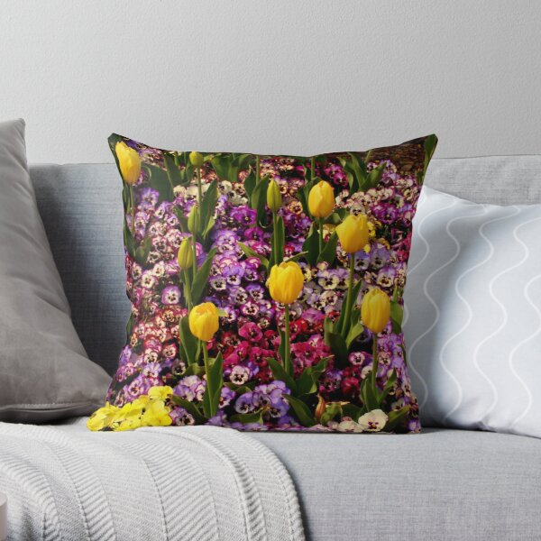 Tulips Among Pansies Throw Pillow