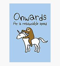 Onwards! At A Reasonable Speed (Sloth Riding Unicorn) Photographic Print