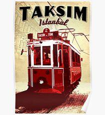 Taksim, Istanbul, Tramway, Turkey, public transport, vintage travel poster Poster