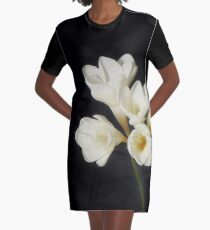 Purity: A White on Black Floral Study Graphic T-Shirt Dress