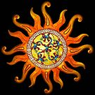 Deco Sun and lizard Art t-shirt by Walter Colvin