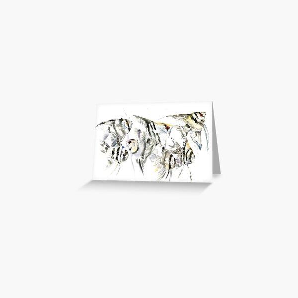 Scalar fish aquarium design, angelfish Greeting Card