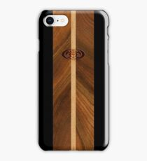 Rocky Point Hawaiian Faux Wood Surfboard - Black iPhone Case/Skin