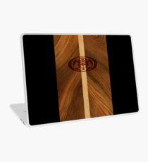Rocky Point Hawaiian Faux Wood Surfboard - Black Laptop Skin