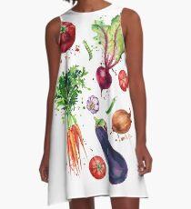 Vegetable set watercolor illustration A-Line Dress