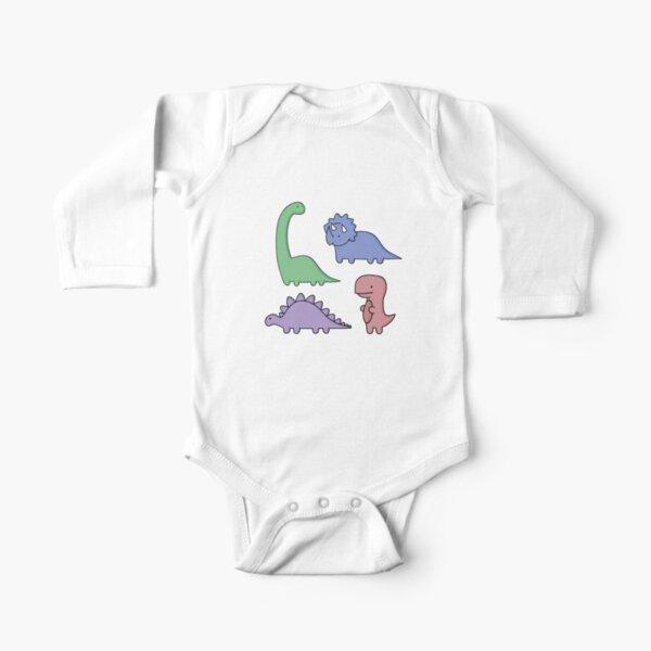 Dinosaur Illustrations Long Sleeve Baby One-Piece