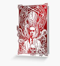 Lovecraft Cthulhu Red Greeting Card