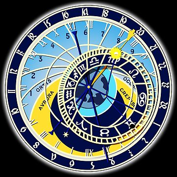 Astronomical, Clock, Prague, Orloj, Czech, on BLACK by TOMSREDBUBBLE