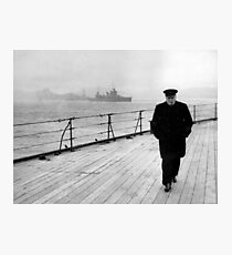Winston Churchill At Sea Photographic Print