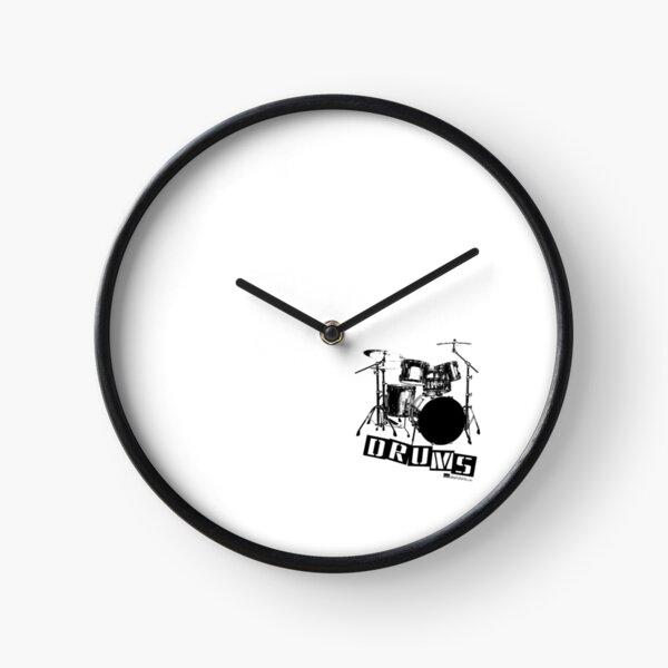 Label Me A Drum Set (Black Lettering) Clock