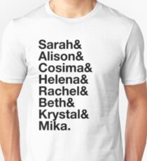 Orphan Black Clones List - Black Text T-Shirt